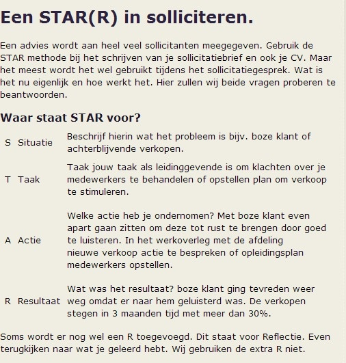 STAR(R) methode. Een goede manier om je voor te bereiden op je #sollicitatiegesprek