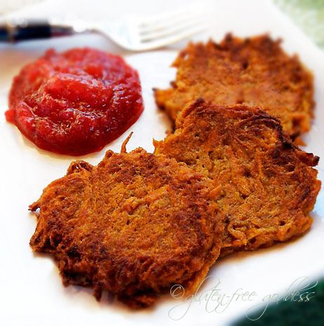 Sweet Potato Latkes - we didn't make the sauce for these but oh my, the latkes themselves were AMAZING! My husband who likes neither latkes nor sweet potatoes, thought they were incredible even. They were that good.