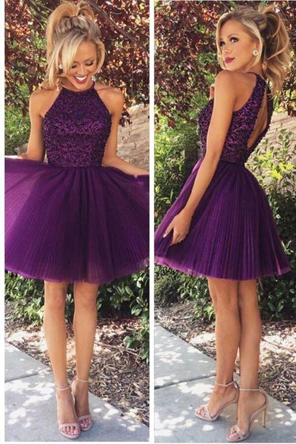 Open Back Halter Purple Beaded Homecoming Cocktail Dresses PG020