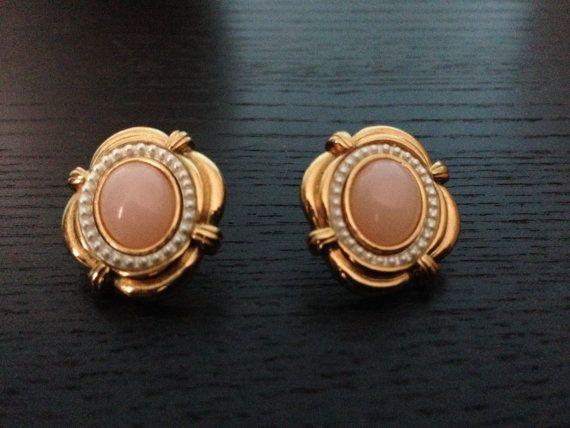Vintage Pearl Earring/ 70s Earring/ Coral Earrings on Etsy, $25.00
