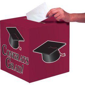 Grad Cap Card Box Black Party Accessory 1 Count 1 Pkg