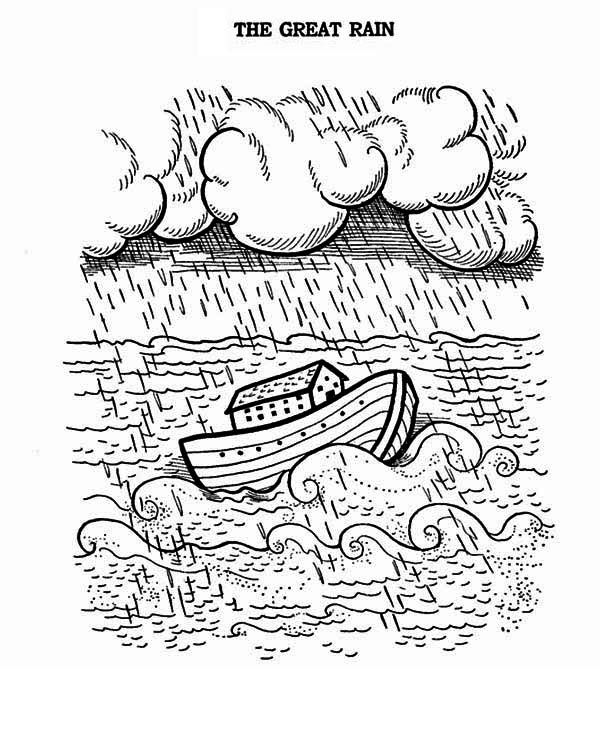 Noahs Ark A Great Rain Floating The Noahs Ark Coloring Page