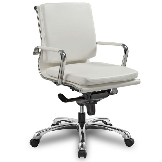 white leather office chair or conference room chair with classic chrome base also available in