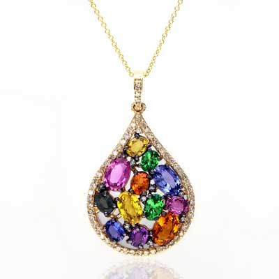 Zales Multi Semi-Precious Gemstone and 1/8 CT. T.w. Diamond Peacock Pendant in Sterling Silver and 14K Gold L2JFMeHIOx