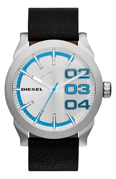 Men's DIESEL 'Double Down' Round Leather Strap Watch