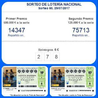 #LoteríaNacionaldeEspaña sorteo Nº 60 del Sabado 29-7-2017.