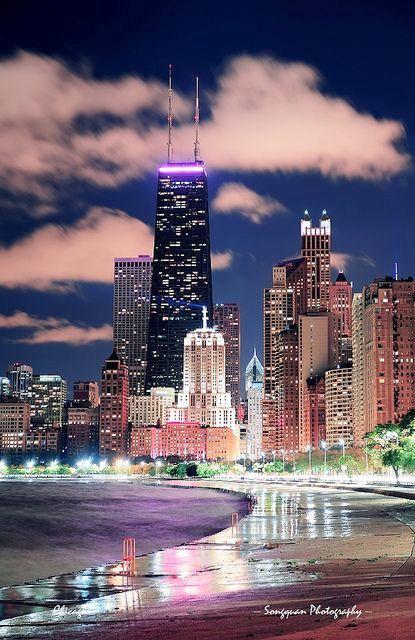 Chicago night ,Illinois, USA