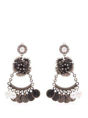 Faux-pearl flower-drop clip-on earrings    | Erdem | MATCHESFASHION.COM UK