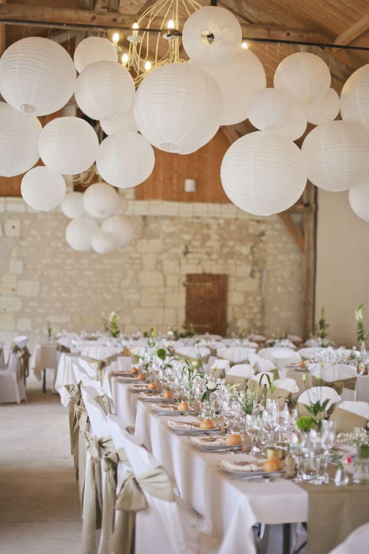Lámparas de papel para decorar el lugar de recepción