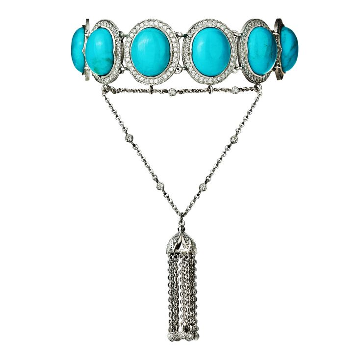 Bracelet 526/WG/DI | Turquoise / Diamond / White Gold