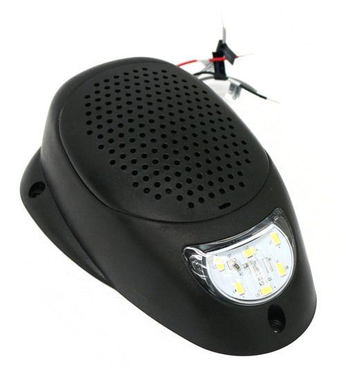 """Black 3"""""""" Water Resistant Surface Mount Satellite Speaker White LED Lighting 12V"""