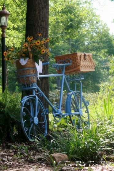 Baby blue bicycle planter to add a pop of color to your HOT summer garden!