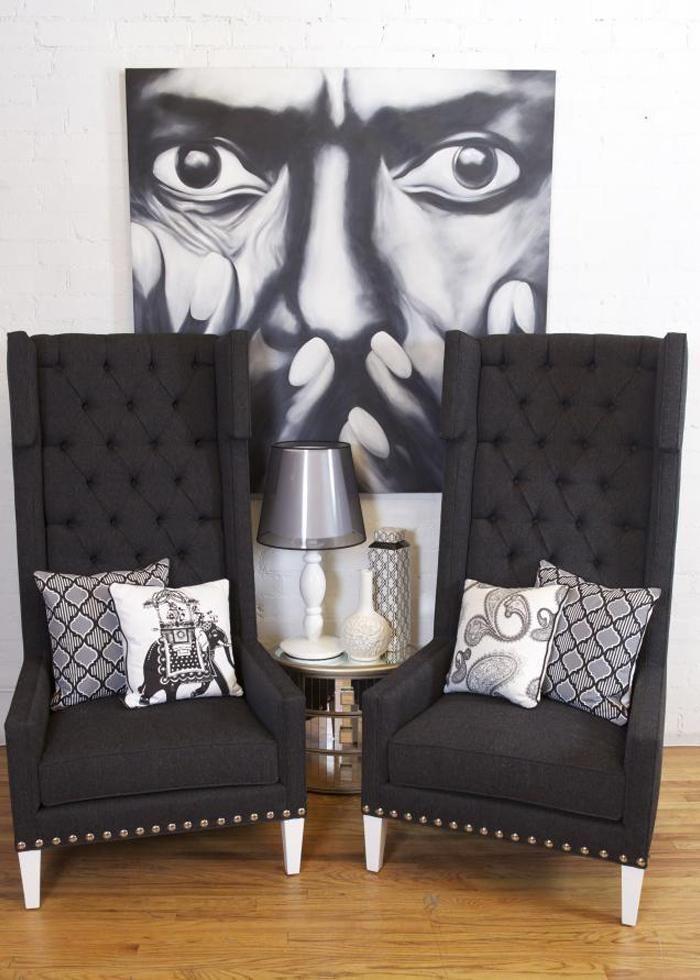 dark grey tweed nailhead trim high back wing chair