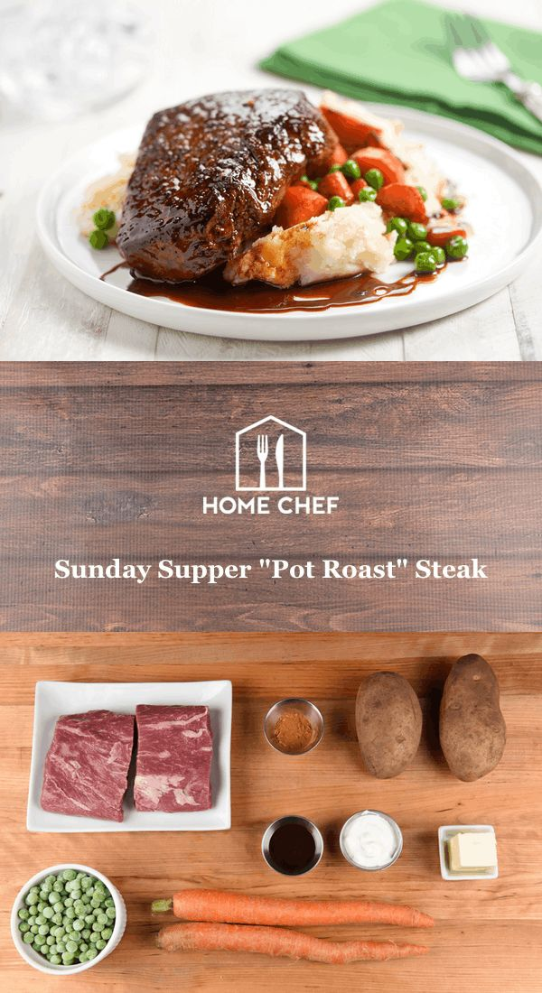 """Sunday Supper """"Pot Roast"""" Steak with mashed potatoes, roasted carrots, and peas"""