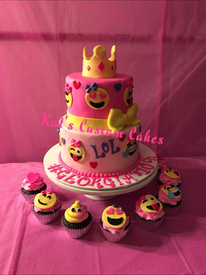 Pink Emoji Cake And Cupcakes