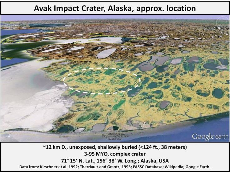 Avak Impact Crater is a subcircular  structure of about 8 km across & 1 km deep, about 12 km SE of Barrow, Alaska. The impact occurred less than 95 Ma