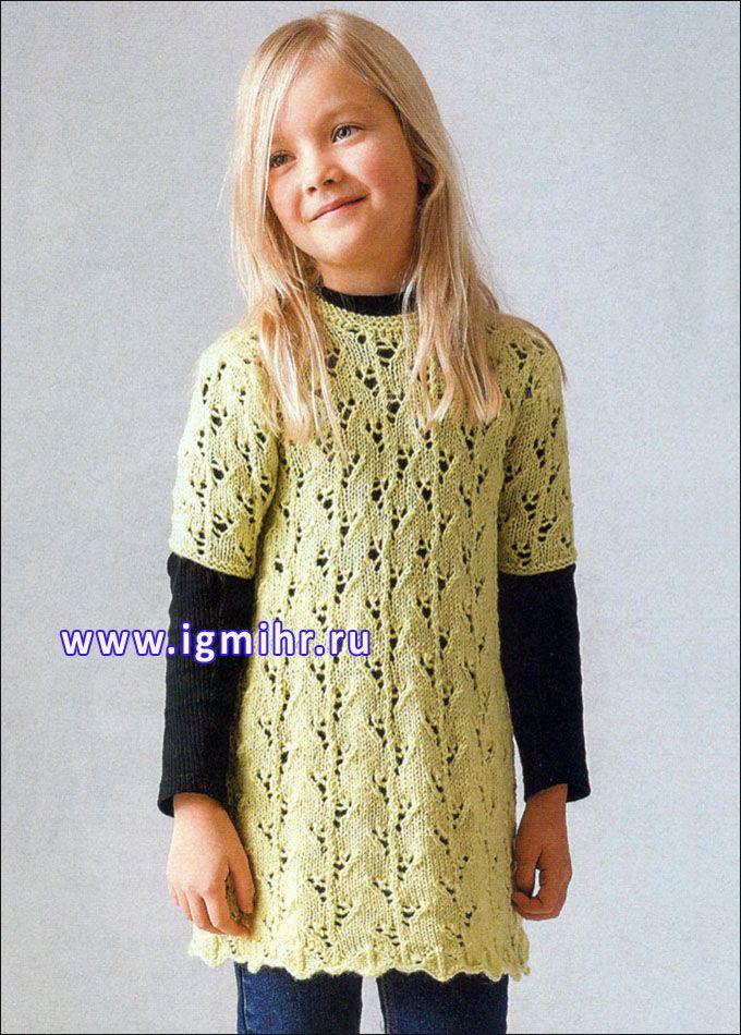 Ажурная туника оливкового цвета для маленькой модницы. Спицы