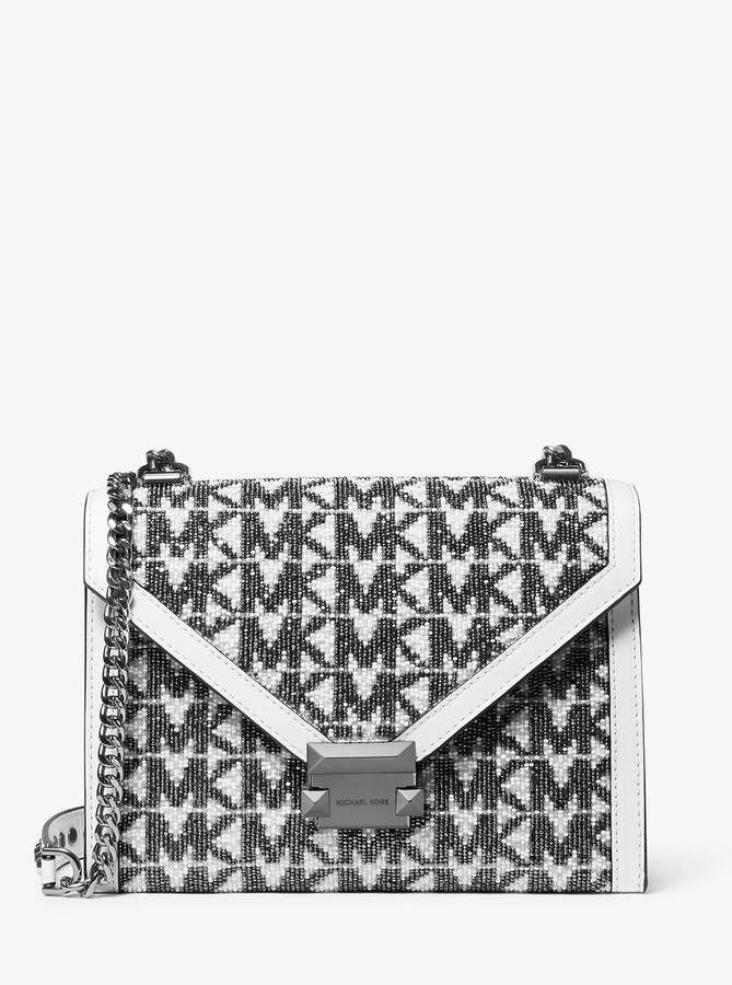 Michael Michael Kors Whitney Large Beaded Logo Convertible Shoulder Bag Convertible Shoulder Bags Shoulder Bag Bags