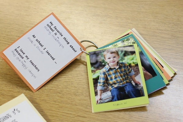 Our End-of-Year preschool teacher gift: a little ring book of each childs photo and interview about their favorite things from the year.  It turned out so cute!