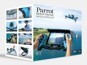 Parrot Bebop Drone + Skycontroller - BlueScegli Parrot Bebop Drone Extended Range super pack con Skycontroller e più batterie incluse. Parrot Skycontroller è costituito da un telecomando di tipo RC standard con un potente amplificatore della portata del Wi-Fi, e da un dock per ospitare uno smartphone o un tablet e un'uscita video HDMI per collegare facilmente gli occhiali FPV!