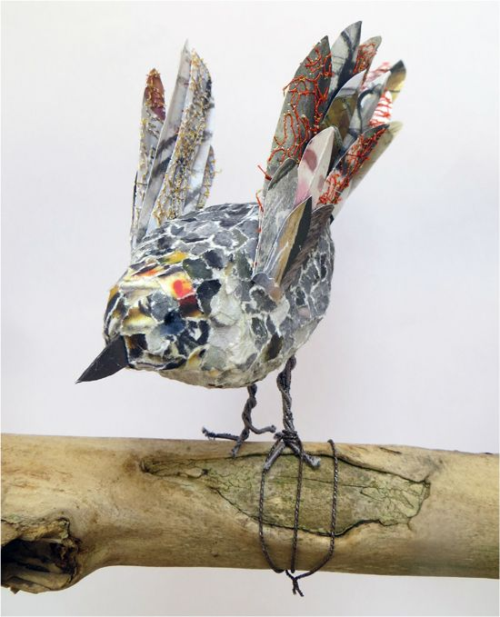 Book Transformation: Flock of Birds - Just landed! Paper bird sculpture. http://www.accessart.org.uk/book-transformation-flock-of-birds/