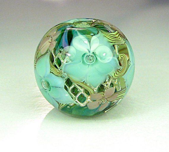 juniper floral focal lampwork glass bead by flamekeeper on etsy