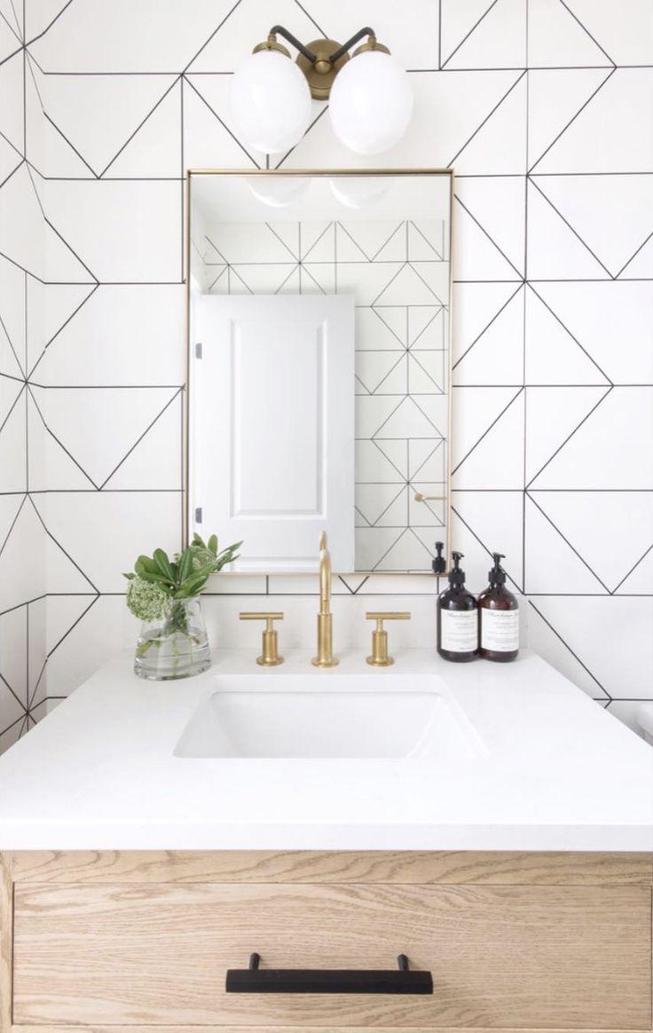 Leclair Decor Powder Room Styling Wallpaper Interi…