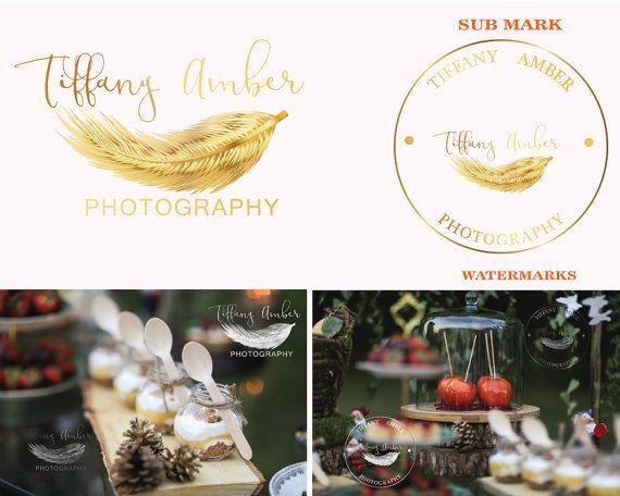 Premade logo Potography logo Feather logo Gold by LoveArtsStudio