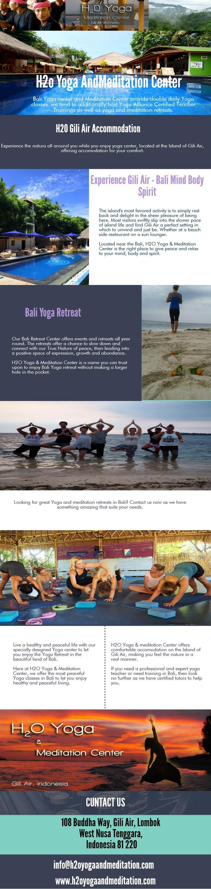 H2O Yoga & meditation Center offers comfortable accomodation on the Island of Gili Air, making you feel the nature in a real manner.