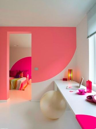 colored wall, sitting ball for bathroom, girly