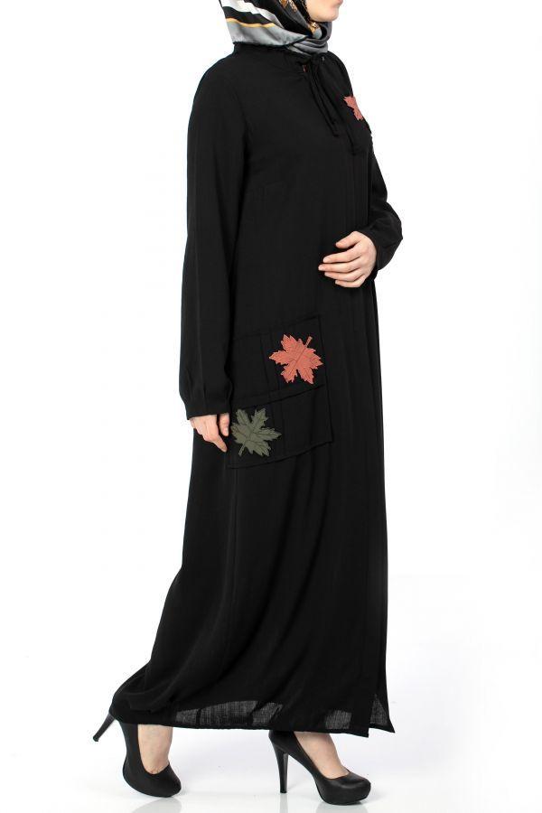 Kanavice Nakisli Siyah Ferace Islami Giyim Moda Stilleri Abaya Tarzi