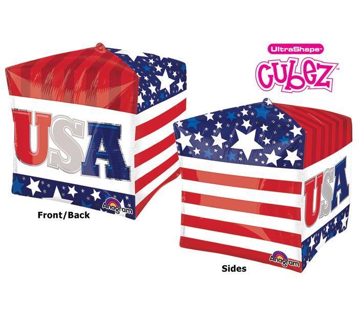 Decorate your party with the NEW Cubez Patriotic Balloon! #burtonandburton #patriotic #balloon
