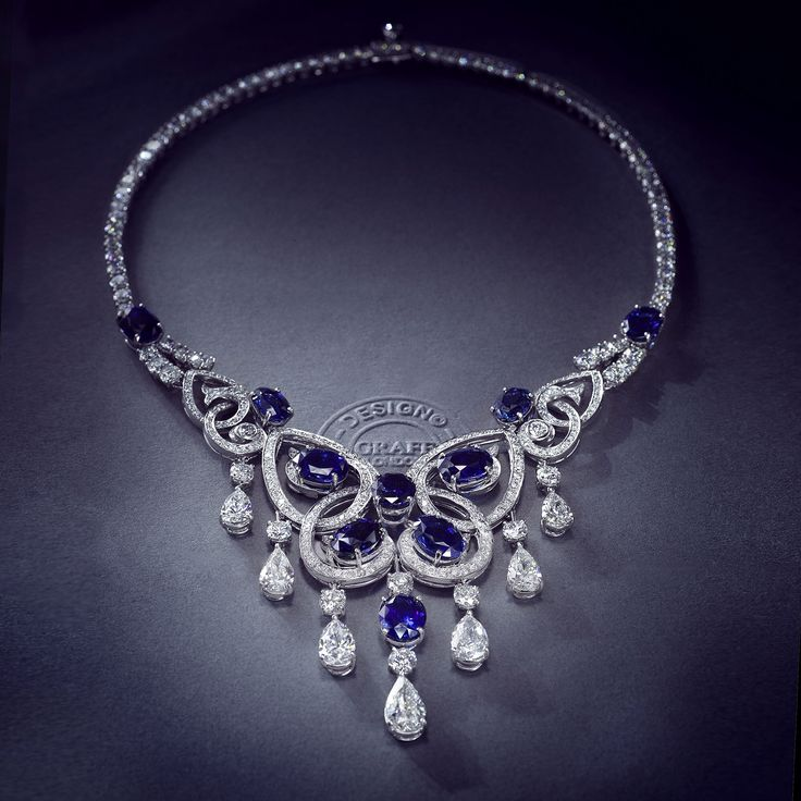 Divine Symmetry  - Graff's Sapphire and Diamond Motif Necklace is inspired by the perfect proportions of the #butterfly.  #graffdiamonds