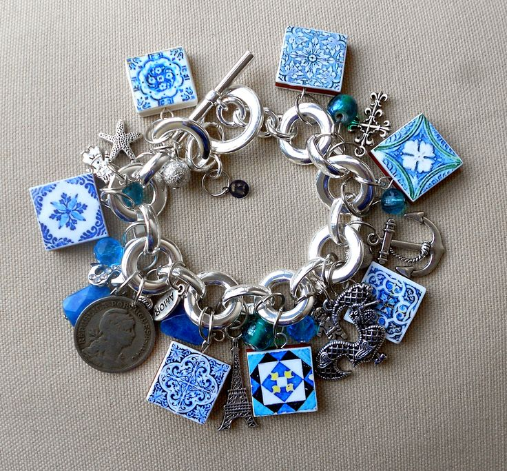 Custom Antique Azulejo Charm Bracelet https://www.etsy.com/listing/211933554/portugal-antique-azulejo-tile-majolica?ref=shop_home_feat_4