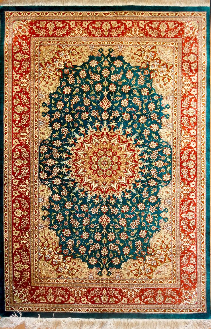 QUM Silk Persian Rug | Exclusive collection of rugs and tableau rugs - Treasure Gallery QUM Silk Persian Rug You pay: $2,500.00 Retail Price: $6,500.00 You Save: 62% ($4,000.00) Item#: 2044 Category: Small(3x5-5x8) Persian Rugs Design: Medallion Size: 100 x 150 (cm)      3' 3 x 4' 11 (ft) Origin: Persian Foundation: Silk Material: Silk Weave: 100% Hand Woven Age: Brand New KPSI: 700
