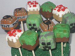 Minecraft Cake Pops    idea for Elliot's birthday cake?