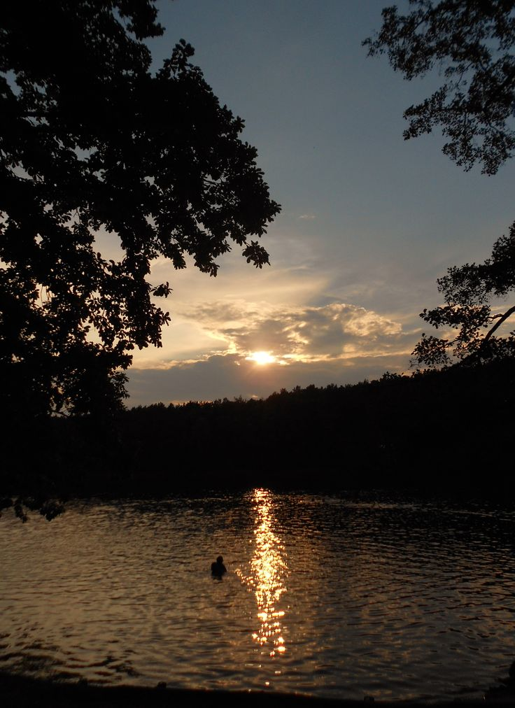 Sunset, Krumme Lanke, Berlin, Germany Lake, Water, Reflection