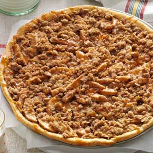 Apple Crisp Pizza-  Not only creative, but tasty as well. Our Small Slice was a   all American Apple pie. .Not the least bit heavy or overly sweet. The topping was very good and it browned beautifully. You may want to baked it on a cookie sheet. I made a much smaller version and it worked out just fine !