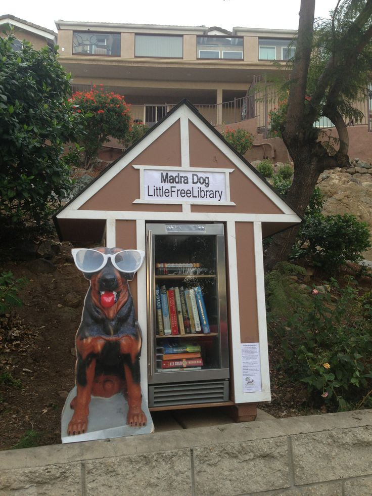 Janet Mika. San Diego, CA.   We started the Madra Dog Little Free Library for our community to share the joy of reading. Madra Dog is our community's mascot, and it is only fitting that he has a library. :-) We have all kinds of books and audio books in there, from Homer's Odyssey to children's books, and they change daily as people take them and leave them.