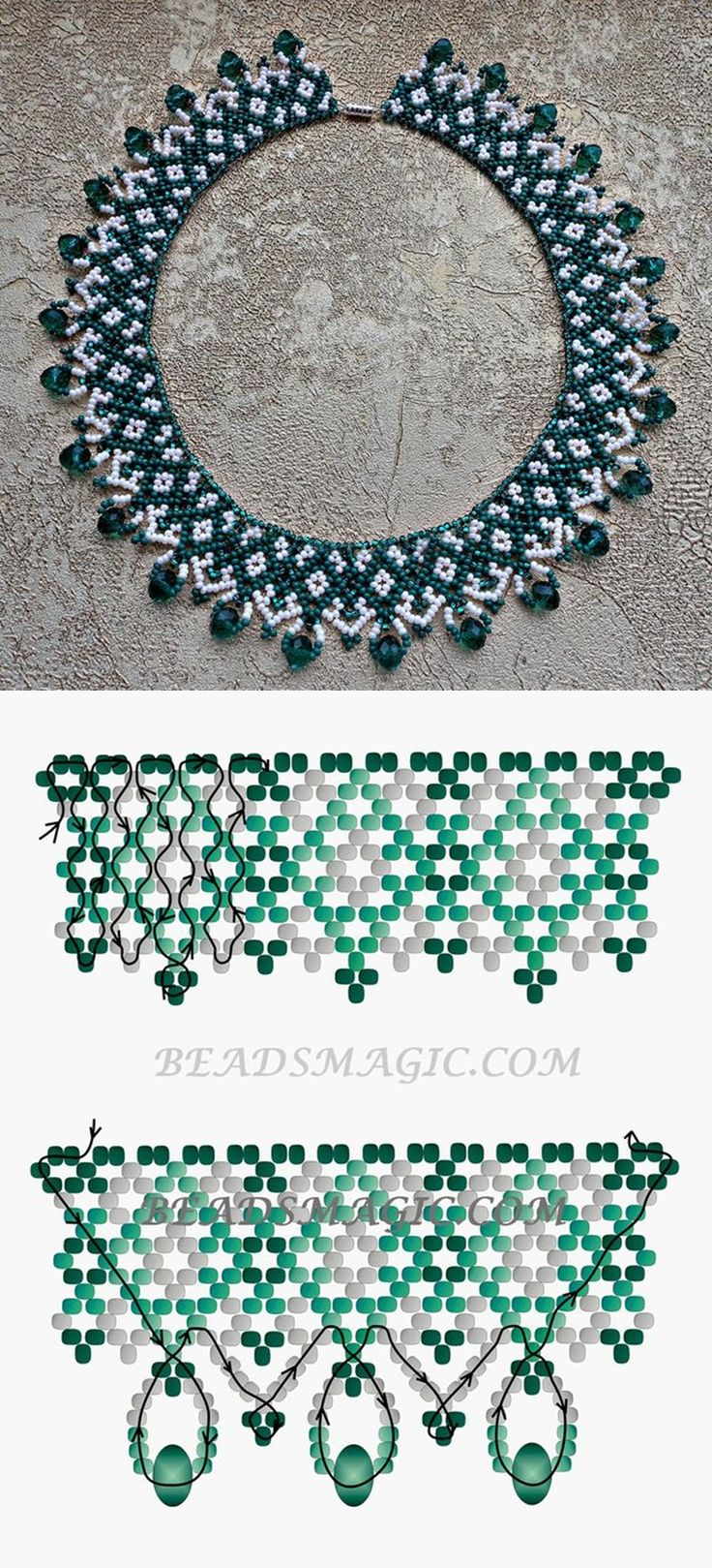 Free pattern for beaded necklace Emily | Beads Magic | Bloglovin' seed beads 11/0 rondelle crystal beads 6 mm