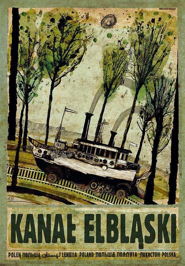 Kanał Elbląski. Poster by Ryszard Kaja.  | ⇆ 96| pl| https://www.pinterest.com/centrumpodryonl/polska-na-plakatach/