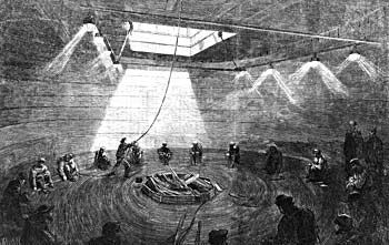 """Transatlantic Telegraph Cable - Loading of the cable into the """"Great Eastern"""" ship in 1865. The cable was fully operational by Sept 17, 1866 and was in use until 1960's!"""
