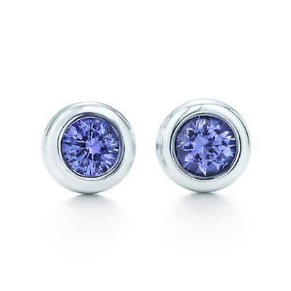 Elsa Peretti® Color by the Yard earrings in sterling silver with tanzanites. | Tiffany & Co.