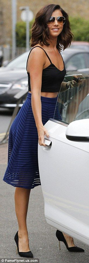 Lucy Mecklenburgh looks elegant in black bralet and cobalt midi-skirt #dailymail