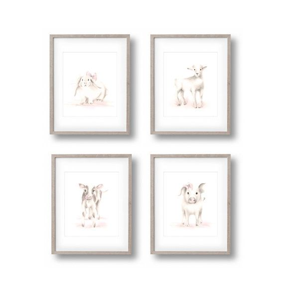 Baby Animal Art prints for the Sweet Blush Collection by Studio Q. Set includes a Bunny, Lamb, Cow and Pig.