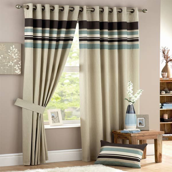 Curtina Harvard Stripe Print Eyelet Lined Curtains Duck Egg 66 X 90 Inch