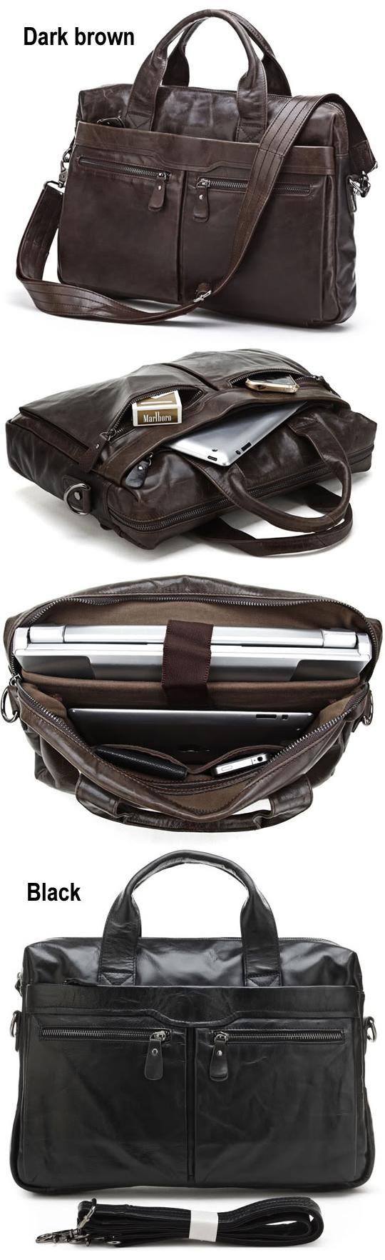 "Handmade Antique Leather Briefcase / 14"" 15"" Laptop or 13"" 15"" MacBook Bag for Men"