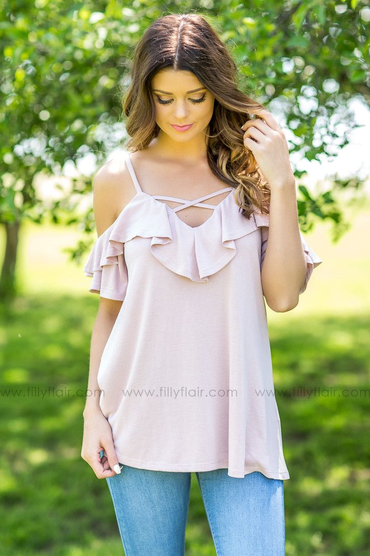 I like the criss cross and the ruffles off the shoulder