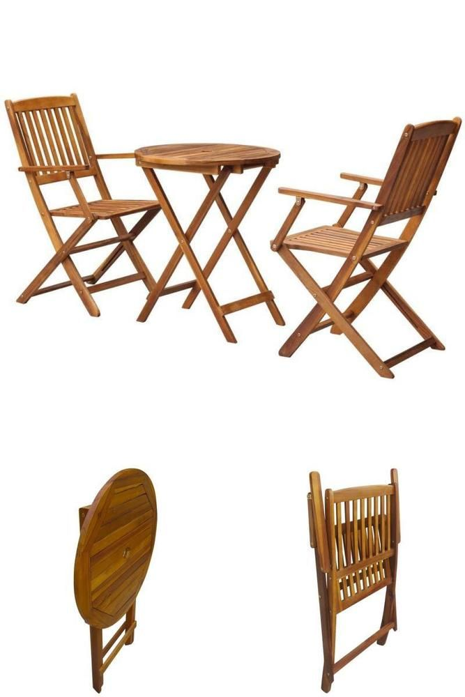 Folding Dining Bistro Set Wooden 3 Piece Patio Garden Round Table 2 Armchairs