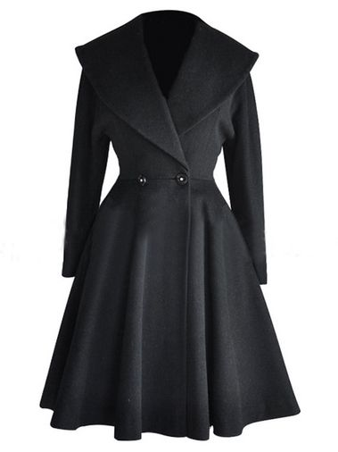 Pleated Big Lapel Waisted Black Plus Size Trench Coat on buytrends.com